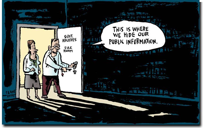 Freedom of Information cartoon, via Chris Slane's Privacy Cartoons site